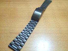 20mm 時計バンド(腕時計)ベルト20ミリ ブラック IP加工 ステンレススチール ブレスレット メタル バンド ベルト 時計ベルト・バンド バネ棒 サービス付き 20mm