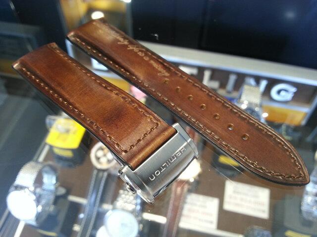 HAMILTON☆ハミルトン☆スピリットオブリバティー専用 交換用 腕時計バンド ベルト 牛革 22mm ブラウン(茶色) バックルつき H600324115