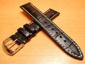 【SINN】 ジン 腕時計 Sinn 純正バンド ベルト カウレザー・ストラップ (型押し)SSマット・バックル & SSポリッシュ・バックル (20mm & 22mm) 腕時計用 時計ベルト 時計用バンド ブラック(黒色)白ステッチ