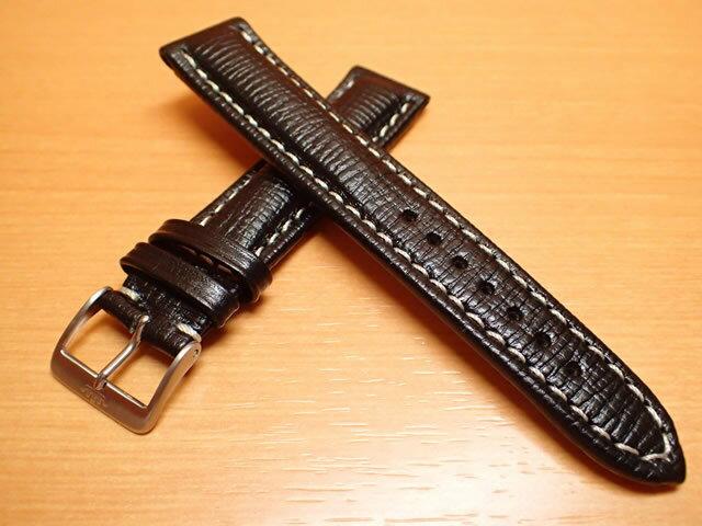 FORTIS フォルティス フリーガークラッシック / コスモノート 用 カーフレザー ベルト バンド カーフ SSヘアラインマットバックル ブラック(黒色)20mm