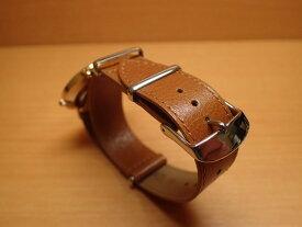18mm NATO タイプ 引き通し 時計バンド 腕時計用 時計ベルト 時計用バンド 牛革 レザー 茶色(ブラウン)【写真の時計はイメージです。ついておりません】