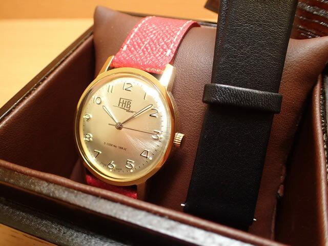 FHB エフエイチビー 腕時計 クラシックフレアーシリーズ Classic Flair Series F908YG-RD/BK 黒色の交換バンドつき限定品【正規輸入品】