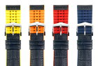 HIRSCHヒルシュANDYアンディLサイズのみ腕時計ベルトカーフ(アリゲーターの型押し仕上げ、イタリアンカーフ)カウチューク(天然ゴム)18mm/20mm/22mm/24mm