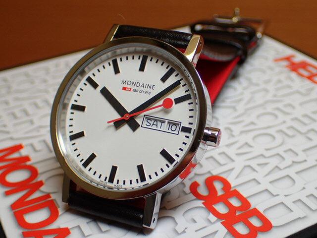 モンディーン 腕時計 ニュークラシック デイデイト メンズ ホワイトダイアル ブラックレザー A667.30314.11SBB