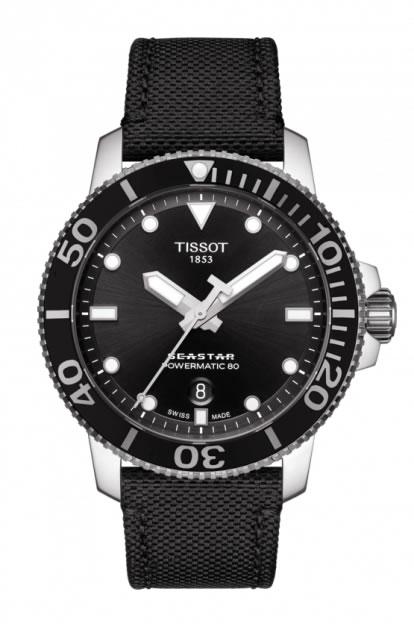 TISSOT 腕時計 ティソ メンズ シースター1000 パワーマティック80 オートマティック 日本スペシャルモデル ブラック文字盤 キャンバスストラップ T120.407.17.051.00