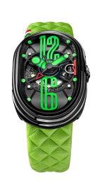 グリモルディ 腕時計 GTO グリーンレザーベルト メンズ GRIMOLDI Gran Tipo Ovale SSSHICE612SL-GR1962年〜1964年にわずかに製造されたフェラーリ250GTOにオマージュした腕時計