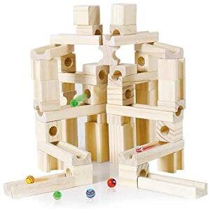 積み木 つみき ピタゴラスイッチ ビー玉転がし スロープ 木製 立体パズル 知育玩具 おもちゃ 誕生日 入学 入園 クリスマス プレゼント (60pcs)