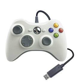 XBOX360 コントローラー Blitzl PC コントローラー 有線 ゲームパッド ケーブル Windows PC Win7/8/10 人体工学 二重振動 色:ホワイト