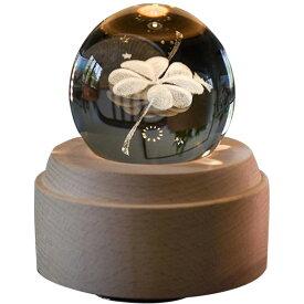 オルゴール クリスタル ボール 木製手作りかわいい おしゃれ間接照明 LEDライト USB充電式投影ボール インテリア かわいい 癒しグッズ 誕生日プレゼント記念日 出産祝いなどの場合に最適 (四つ葉のクローバー)