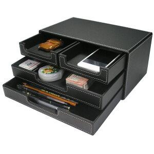 PUレザー 卓上収納箱 デスク収納引き出し ファイル箱 多用途収納箱 ファイル/小物/雑物/文具/書類引き出し 自宅/オフィス用収納ケース 3層4つ引き出し