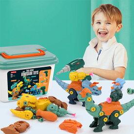 恐竜 おもちゃ 組み立ておもちゃ 大工さんごっこおもちゃ DIY恐竜立体パズル トリケラトプス ティラノサウルス ブラキオサウルス誕生日プレゼント 入園お祝い 贈り物 知育玩具 電動 ドリル 1個付け