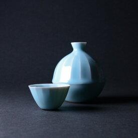 【共箱付】青白磁酒器揃(IH-007)  作家「市川博一」