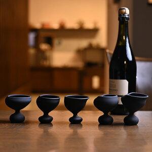 ガラス 酒器「ガラスも踊る」黒フロスト(SI-066) 作家「飯田将平」