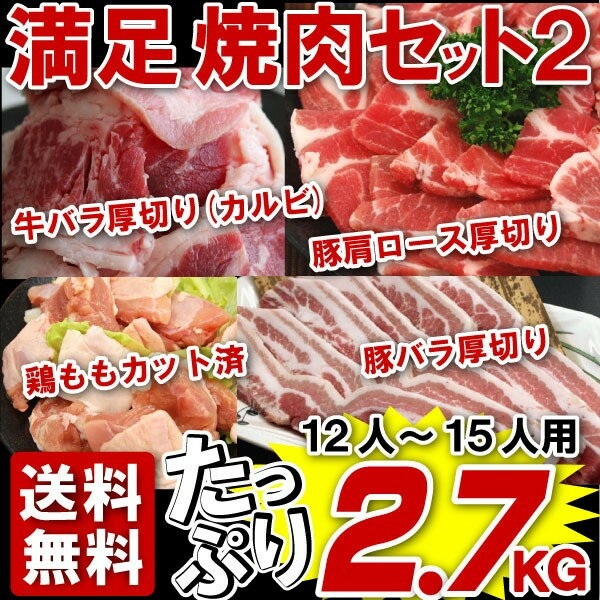 \秋はBBQ/バーベキュー 肉 焼肉 セット 大人数用 牛カルビ・豚バラ・豚肩ロース・鶏ももの4種 万能ダレ付き 総量2.7kg