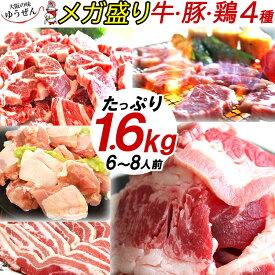 [祝20周年] バーベキュー 肉 焼肉 セット 牛カルビ・牛ロース・豚バラ・鶏ももの4種 6〜8人分 メガ盛り 1kg超 総量1.6kg 送料無料 BBQ食材セット