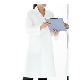 KAZEN レディス診察衣W型長袖 ホワイト 125-20