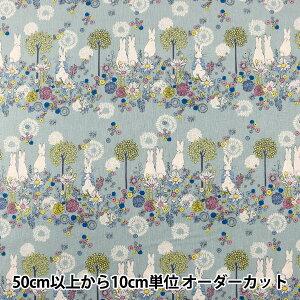 【数量5から】 生地 『綿麻キャンバス ピーターラビット Flower Meadow(フラワーメドウ) ブルー PRC-02A』