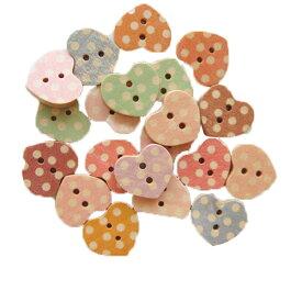 ウッドボタンミックス Iセット ドット・ハート [Material Decoration Parts 手芸用 木のボタン 木 木製 ぼたん レトロ チルドボ