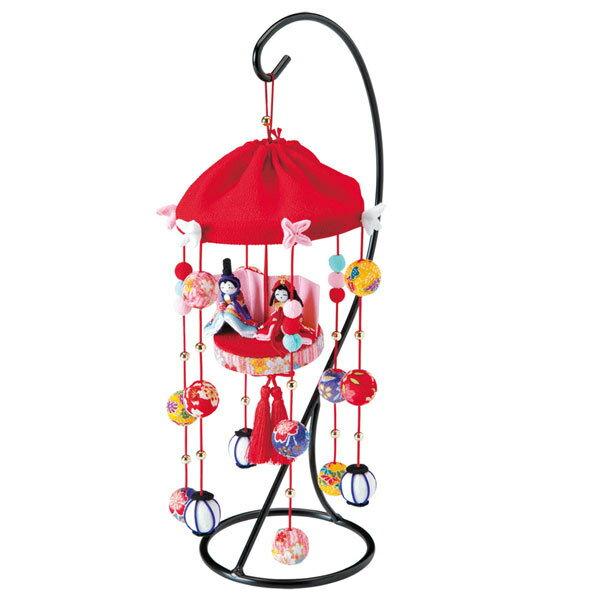 Panami(パナミ) ちりめん細工 福傘つるしびな 赤/HM-12[ひなまつり/和調手芸/布小物/タカギ繊維/ひなまつりキット]