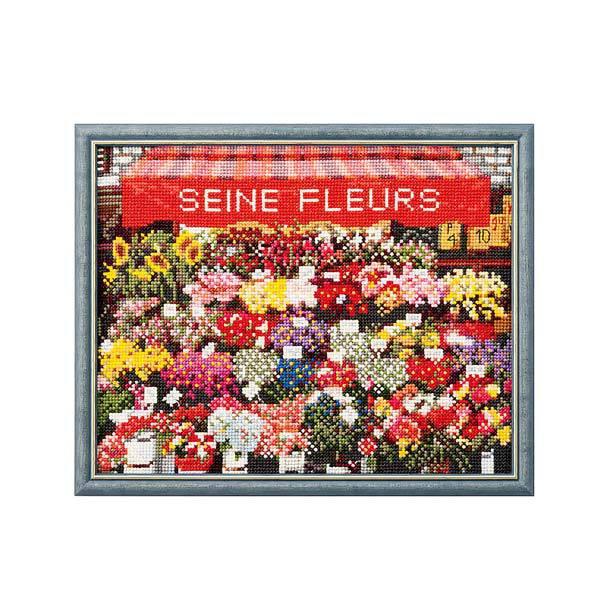 ルシアン フランスの風景 パリの花屋さん/713[刺しゅうキット/刺繍キット/クロスステッチ/コスモ]