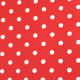 【数量5から】 生地 『水玉ブロードプリント中(7-10)赤地×白』
