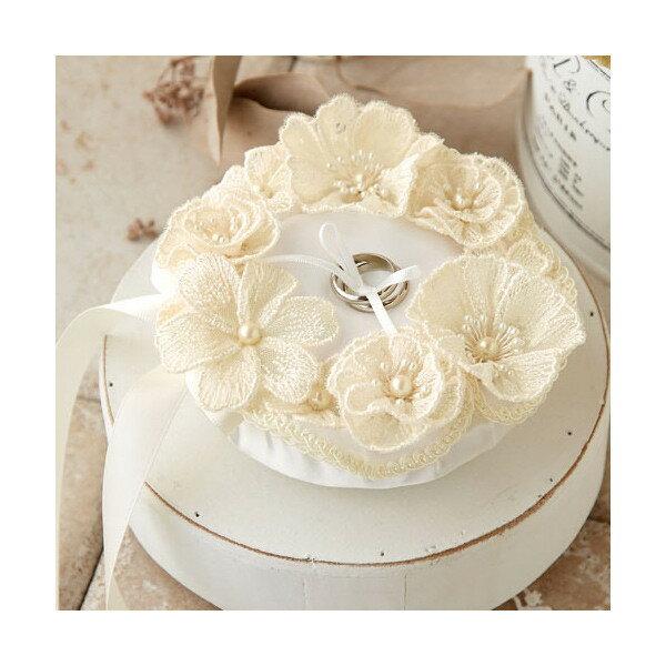 ハマナカ ジュノー リングピロー キット レースのお花のピロー/H431-155[ウエディング/リングピロー/結婚/指輪/小物/手作りキッ