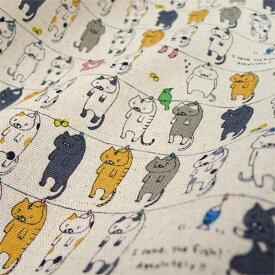 【数量5から】 生地 『コットンこばやし 綿麻キャンバス 洗濯ネコ KTS6227-A』