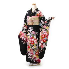 【レンタル】【成人式】振袖 フルセット 黒系 花柄 Lサイズ 結婚式 卒業式 結納 レンタル着物 66729