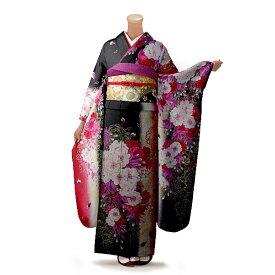 【レンタル】【成人式】振袖 フルセット 黒系 花柄 Mサイズ 結婚式 卒業式 結納 レンタル着物 66434