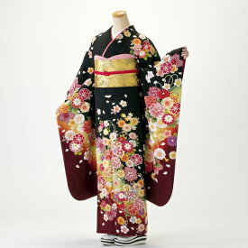 【レンタル】【成人式】振袖 フルセット 黒系 花柄 Mサイズ 結婚式 卒業式 結納 レンタル着物 96596