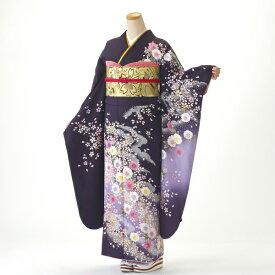 【レンタル】【成人式】振袖 フルセット 紫系 花柄 Lサイズ 結婚式 卒業式 結納 レンタル着物 56188