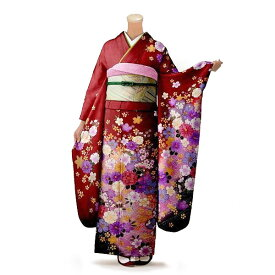【レンタル】【成人式】振袖 フルセット 赤・ワイン系 花柄 Mサイズ 結婚式 卒業式 結納 レンタル着物 16243