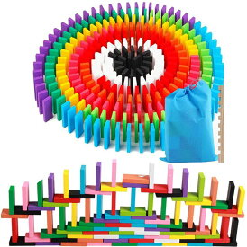AISFA 積み木 ドミノ倒し 知育玩具 12カラー 240枚 木製 カラフル 子供玩具 キッズ こども誕生 プレゼント 木製カラフル 並べる用道具 収納袋 セット 大人も子供も楽しめる おもちゃ 誕生日 クリスマス 入園祝い プレゼント