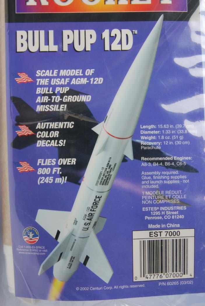 BULL PUP  12D (ブルパップ) モデルロケット組み立てキット