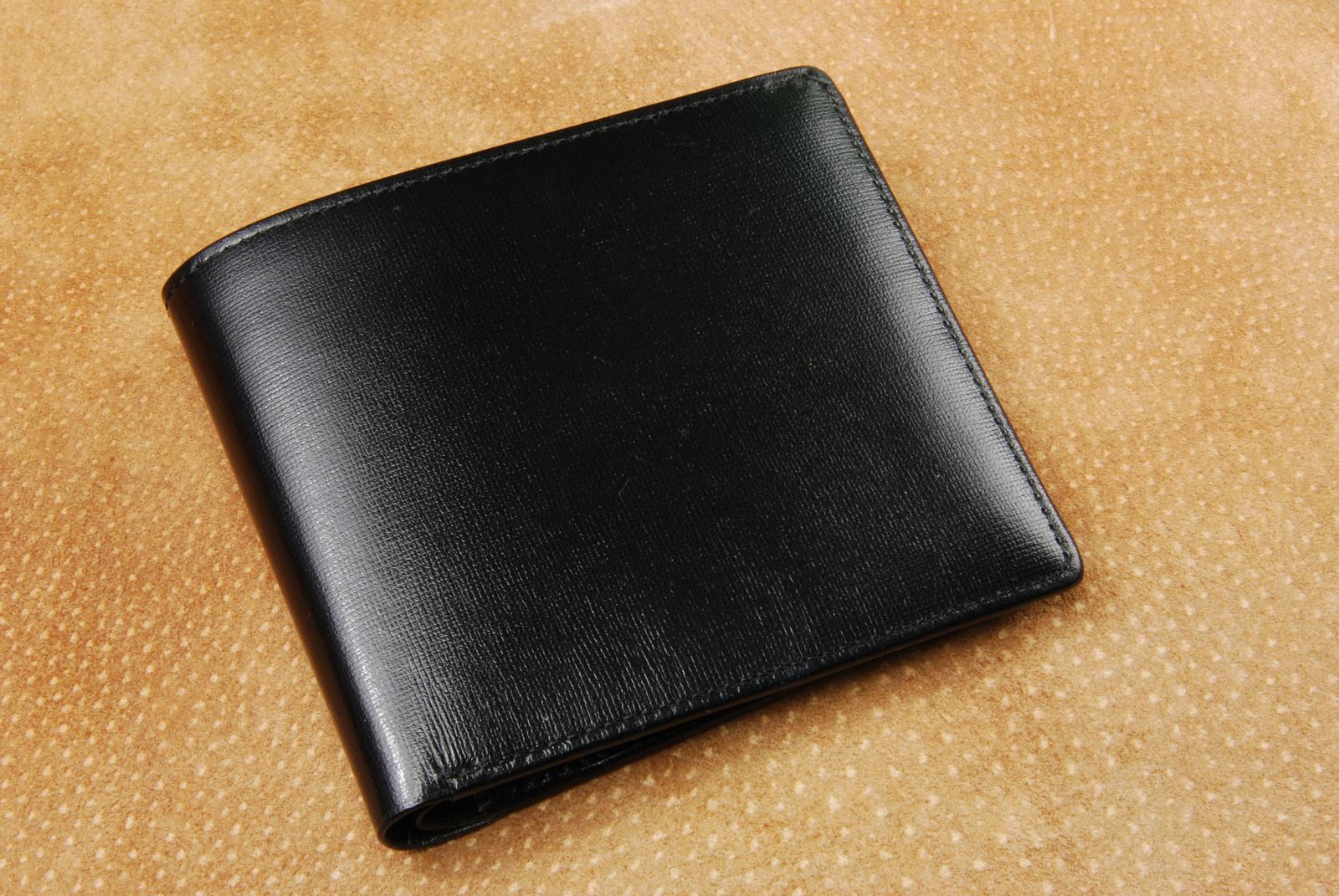 もだんなさいふ(型押し黒) 二つ折り財布 ※送料無料※