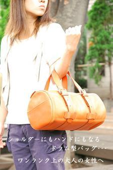 ドラム型ショルダーバッグ(マンゴーオレンジ)★送料無料★
