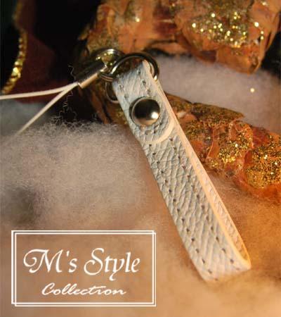 M's ストラップ リッチホワイト 革製 携帯 ストラップ 人気の革を使ったオリジナルストラップ。女性にプレゼントやギフトにも最適 【日本製】