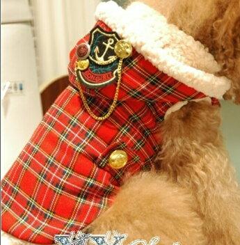 赤チェックロングベスト♪モコモコあったかい〜小型犬用♪★【セール】【トイプードル】【パピヨン】【チワワ】【ヨーキー】【ポメラニアン】【秋冬新作】【犬ウェア】【犬服】【可愛い】