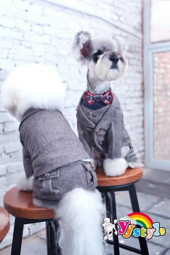 ウール素材使った紳士タキシード5点セット小型犬