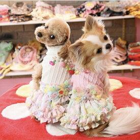 JKリボン付きフリルワンピース ニット ハイネック 小型犬セール トイプードル パピヨン チワワ ポメラニアン 秋冬新作 犬ウェア 犬 服 可愛い