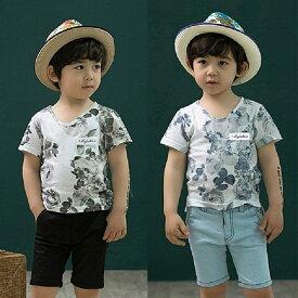 [BAOBAO]【バオバオ】fs3gm【子供服】【韓国子供服】(kids)] fs04gm [男の子」花柄Tシャツ ボーイズ Tシャツ 半袖Tシャツ 男の子 半袖Tシャツ アロハTシャツ 子ども アロハTシャツ グレー オールド・ブルー【90】【100】【110】【120】【130】02P20Sep14