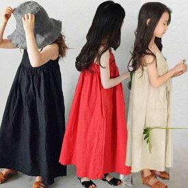 8月5日再再入荷した ママサイズもあり 韓国子供服(kids)]無地ロングワンピース ノースリップ リゾートワンピース 女の子 ロングワンピース 子ども ロングワンピースfs04gm ブラック ベージュ レッド【100cm-170cm】