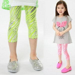 [BAOBAO]【子供服】(kids)] [女の子]子供用【可愛い】【韓国】ゼブラ柄七分丈タイツ レギンス レギンスパンツ★スカッツ レギパン 子ども タイツ 子ども レギンス 女の子レギンス