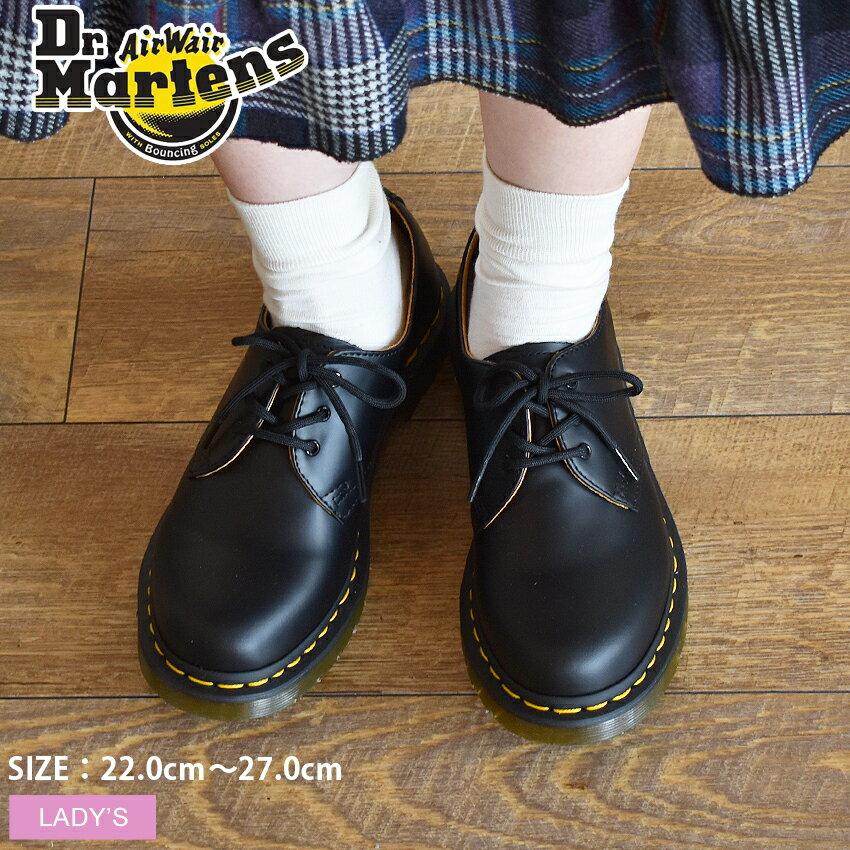 送料無料 ドクターマーチン 3ホール ギブソン DR.MARTENS 黒 ブラック 3HOLE GIBSON 1461 靴 シューズ レザー 短靴 レディース 11837002