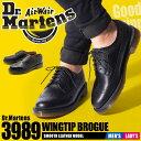 送料無料 ドクターマーチン Dr.Martens ウィングチップ シューズ 3989 13844001 ブラック(DR.MARTENS 3989 BLACK 1...