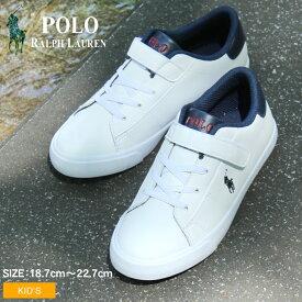 POLO RALPH LAUREN ポロ ラルフローレン スニーカー ホワイト ピアス 2 PS PIERCE II PS RF101990 キッズ&ジュニア(子供用) シューズ シューレース コートスニーカー シンプル ポニー ベルクロ マジックテープ 刺繍 おしゃれ かわいい 可愛い 人気 靴 白