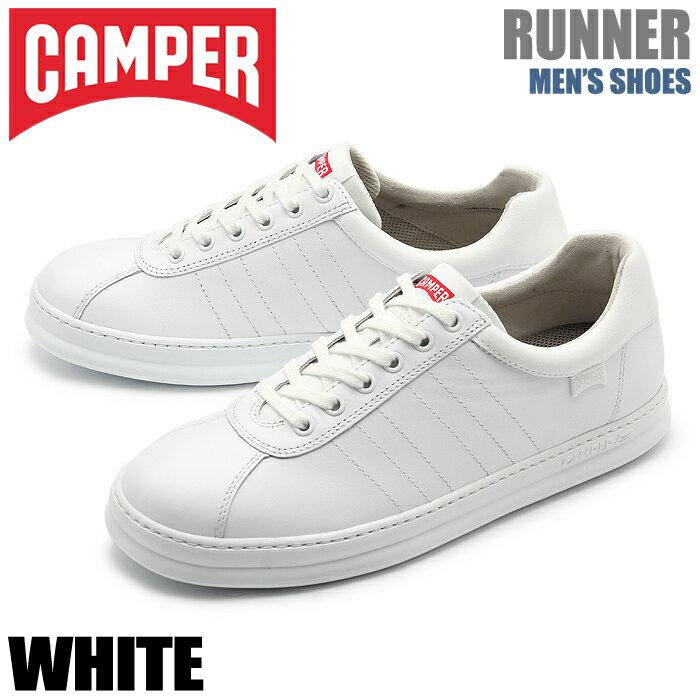送料無料 カンペール CAMPER スニーカー ランナー ホワイトCAMPER RUNNER K100227-004靴 シューズ 天然皮革 ローカット スムースレザー 白 メンズ