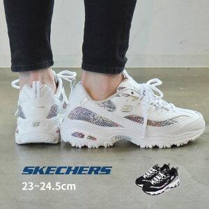 スケッチャーズ SKECHERS ディライト 厚底 スニーカー レディース DLITES 149243 ブラック 黒 ホワイト 白 クッション 軽量 靴 シューズ スポーツ カジュアル ブランド ダッドシューズ パイソン お