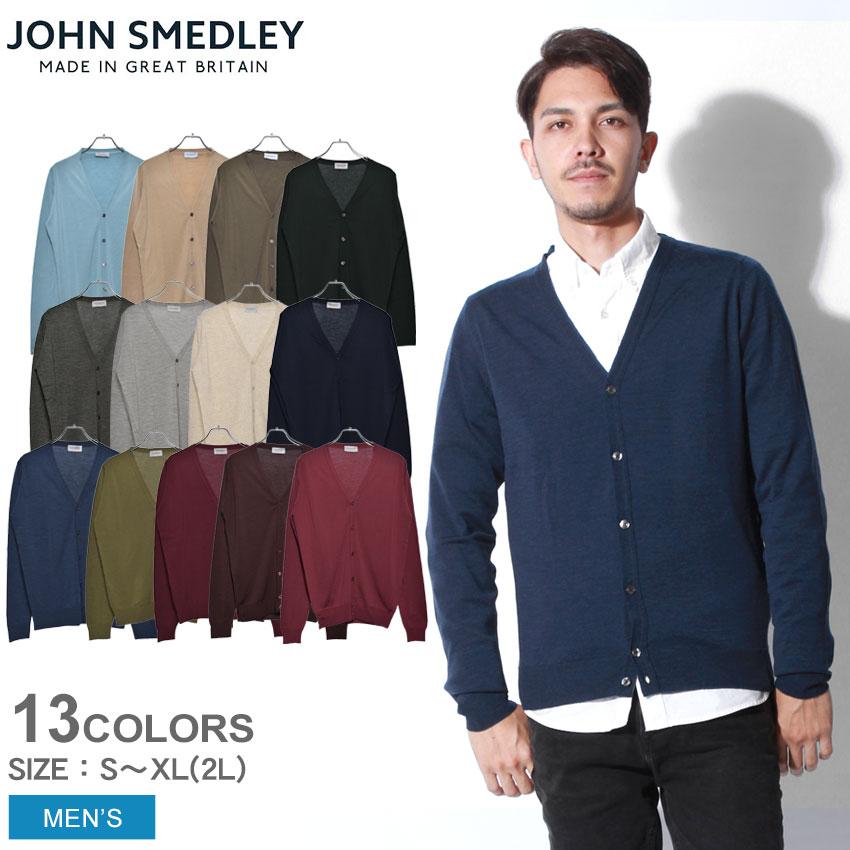 送料無料 JOHN SMEDLEY ジョンスメドレー カーディガン ペットワース PETWORTH ブラック 他全8色 Vネック セーター ニット スタンダードフィット メリノウール ハイゲージ トップス シンプル 無地 黒 青 赤 緑メンズ