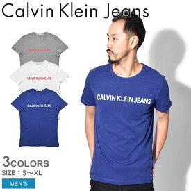 【最大600円OFFクーポン】【メール便可】 CALVIN KLEIN JEANS カルバンクラインジーンズ Tシャツ INSTITUT LOGO T-SHIRT J30J307856 903 112 408 メンズ CK ブランド カジュアル 半袖 ロゴ シンプル プレゼント ギフト 定番 白